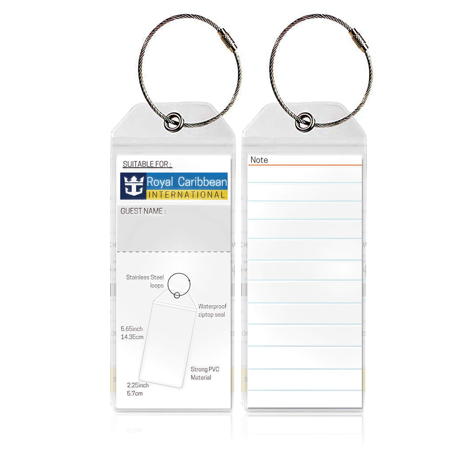 2 Pcs Cruise Tags 2//4//6//8 Pcs PVC Luggage Tags with Zip Seal/&Steel Loops for Cruise Ships