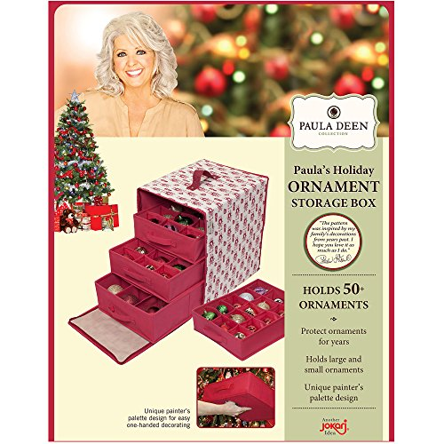 Holder Christmas Ornament - Paula Deen Ornament Storage Container & Closet Organizer - Perfect Holder for Christmas Tree or Holiday Decorations, Hard Cube, Chest, Box Design is Hard to Keep Safe Small, Big Glass or Ornaments