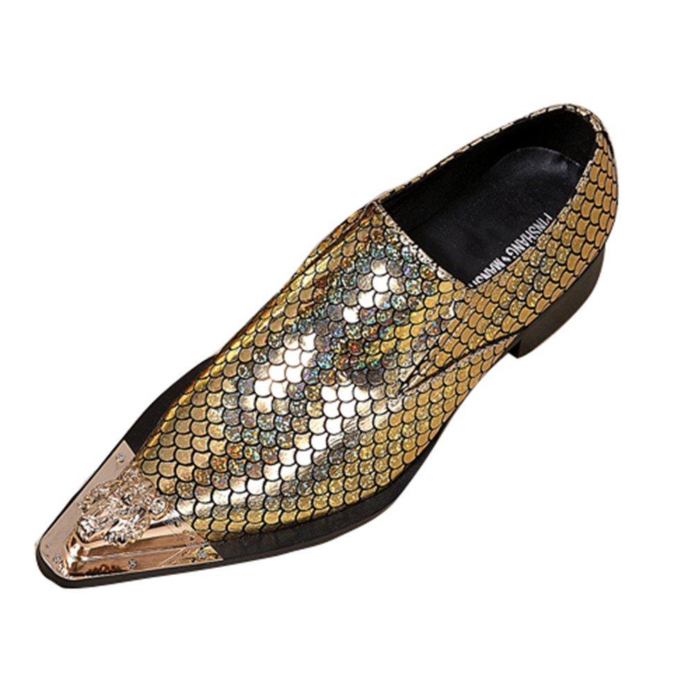 Escala De Pescado para Hombres Puntera De Metal Fiesta Formal Mocasines De Vestir Zapatos De Boda Tamaño 38 A 46,Gold,EU40 EU40|Gold