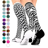Go2 Fashion Compression Socks for Men & Women 15-20 mmHg Athletic Running Socks for Nurses Travel Medical Graduated Nursing Compression Stocking Sport Sock (2BlkWhiteZebra&BlackWhiteLeopardMD)