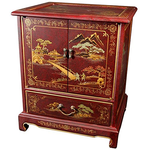 Oriental furniture japanese end table red landscape for Red chinese furniture