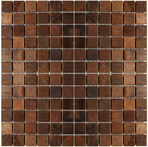 Medium Square Antique Copper Mosaic Tile - Kitchen Backsplash/Bath Backsplash/Wall Decor/Fireplace Surround