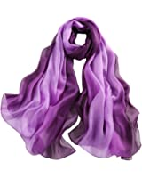 STORY OF SHANGHAI Women's Large Silk Gradient Ramp Colorful Scarf