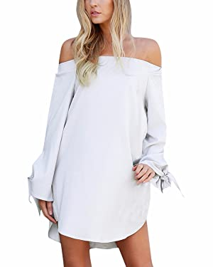 StyleDome Women Strapless Off Shoulder Elegant Tie Long Sleeve Party Loose Tops Irregular Sexy Mini Dress White US 10