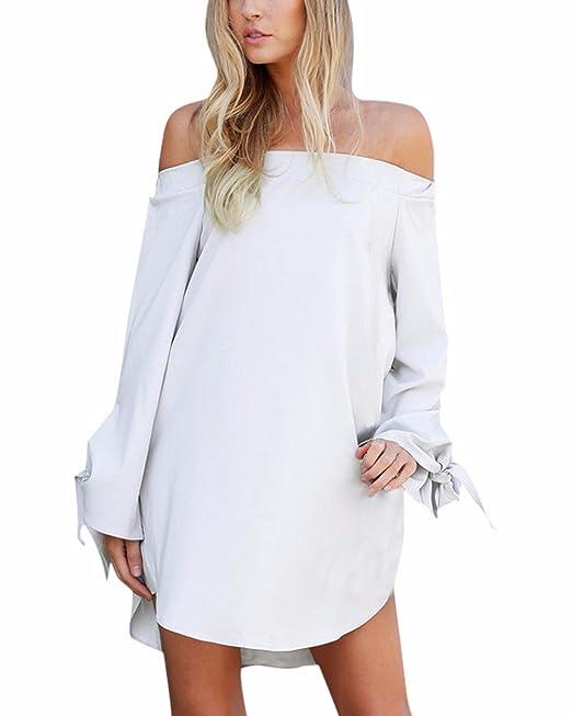 1467bac5e9 StyleDome Vestiti Donna Abito Corto Vestito Elegante Manica Lunga Ragazza  Moda Maglietta Bluse Sexy Casual Top