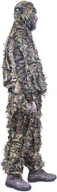 Lejie Camuflaje 3D Nieve Salvaje Cremallera Ghillie Traje Francotirador Caza Ropa Tiro de Avistamiento de Aves T/ácticas Camuflaje Vida Silvestre Fotograf/ía Ocultar