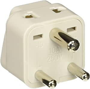 Ckitze BA10-2PK 2 in 1 USA to India Adapter Plug, 2 Pack, Universal (Type D)