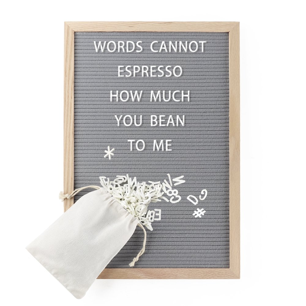 Letter Board - Felt Letter Board Gray 12 x 18 inches Oak Frame - Changeable Letter Board with 340 White Letters and FREE Canvas Bag Pannow