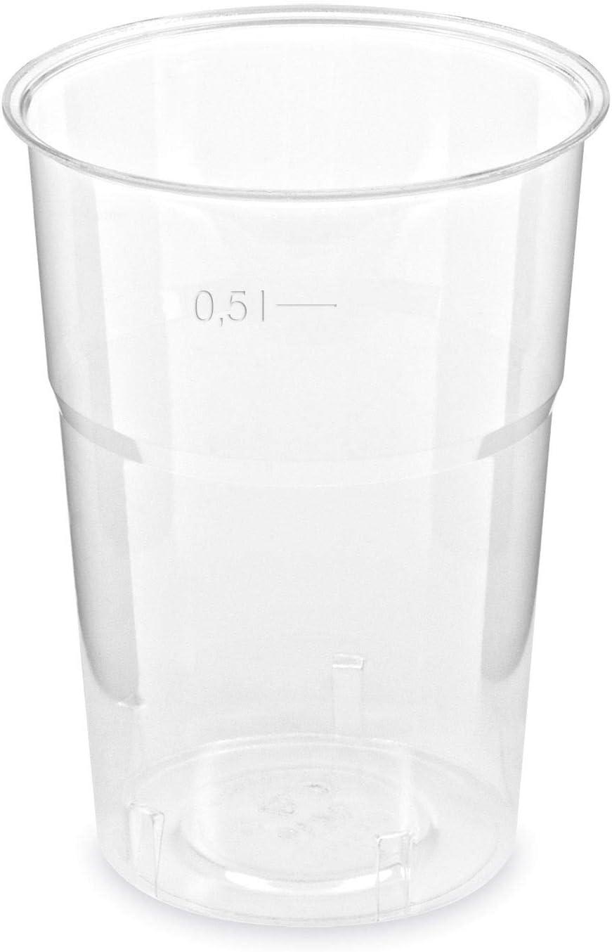 50 Einweg-Trinkbecher klar 0,5 l transparent PS Kunststoff mit F/üllstrich 500 ml praktisch f/ür Party Camping Geburtstag Hochzeit Feier