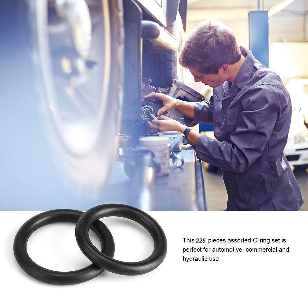 Guarnizioni di Tenuta per O-ring Nero Guarnizioni Idrauliche per Impianti Idraulici YGL 225 Pezzi//Kit 18 misure kit di Assortimento di O-ring in Gomma