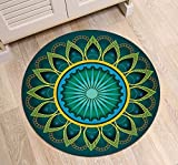 Indian Mandala Circle of Lotus Flower Round Area Rug Mat by LB, Oriental Hippie Hippy Style Soft Non Slip Rug for Bedroom Teepee Study Meditation Entry Floor, 2 foot