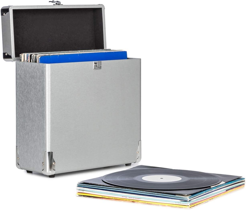 auna Vinylbox ALU - Maletín para vinilos , Maleta para Discos , Conservación de Discos , hasta 30 Discos de 30 cm , Tapa con Cierre , Carcasa de Aluminio , Plateado