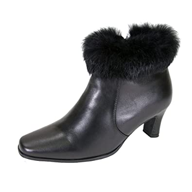FIC PEERAGE Venus Women Wide Width Leather Fur Collared Dress Bootie (Size & Measurement Guide Available)