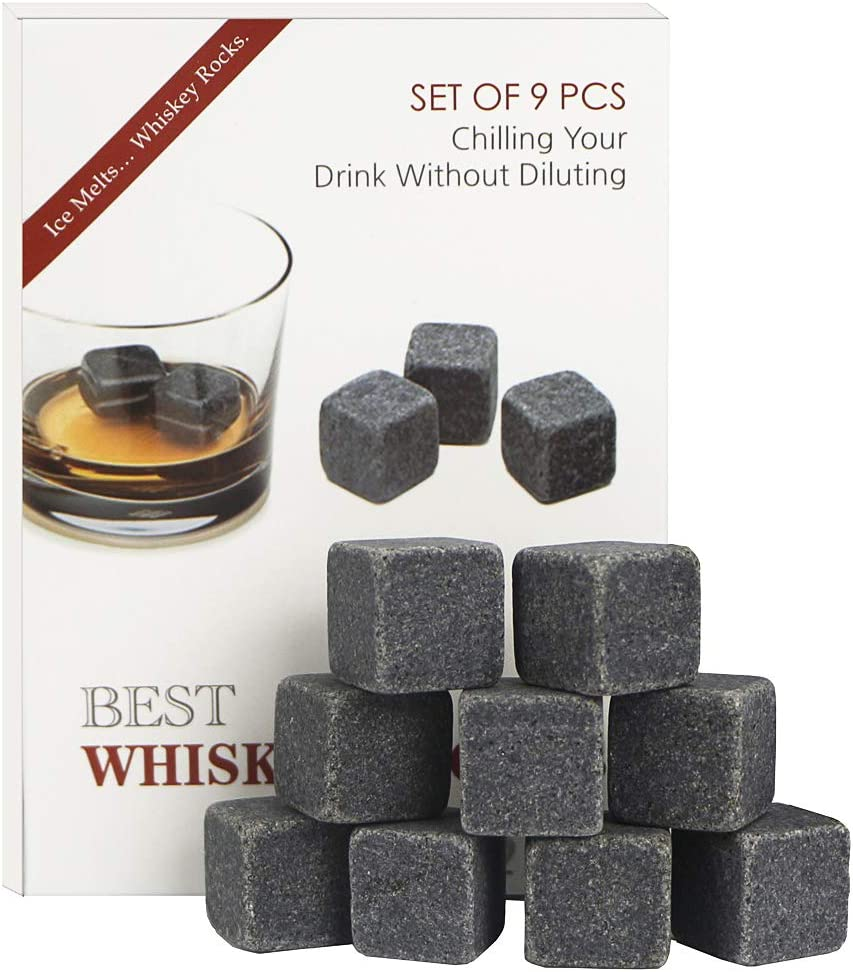 Set of 9 Whiskey Chilling Stones for Whiskey and other Beverages - 100% Pure Soapstone Reusable