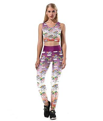 1ba5945e1e284a Pampel Digital Printed Unicorn Women's Full-Length Yoga Workout Leggings  Thin Capris Pants Set (
