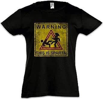 Urban Backwoods Warning This Is Sparta Sign Camiseta para Niñas Chicas niños T-Shirt Black