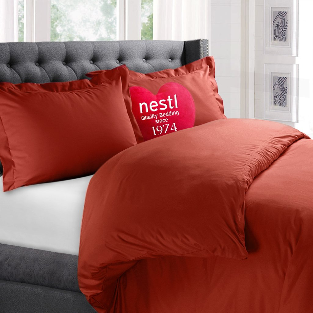 Nestl Bedding Microfiber Queen 3-Piece Duvet Cover Set, Orange