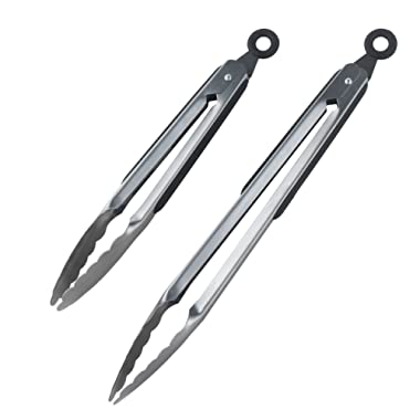 DRAGONN Premium Set of 12-inch and 9-inch Stainless-Steel Locking Kitchen Tongs, Set of 2 - Sturdy, Heavy Duty Tong Set - Great for Cooking, Grilling, and Barbecue (BBQ) (Stainless Steel)