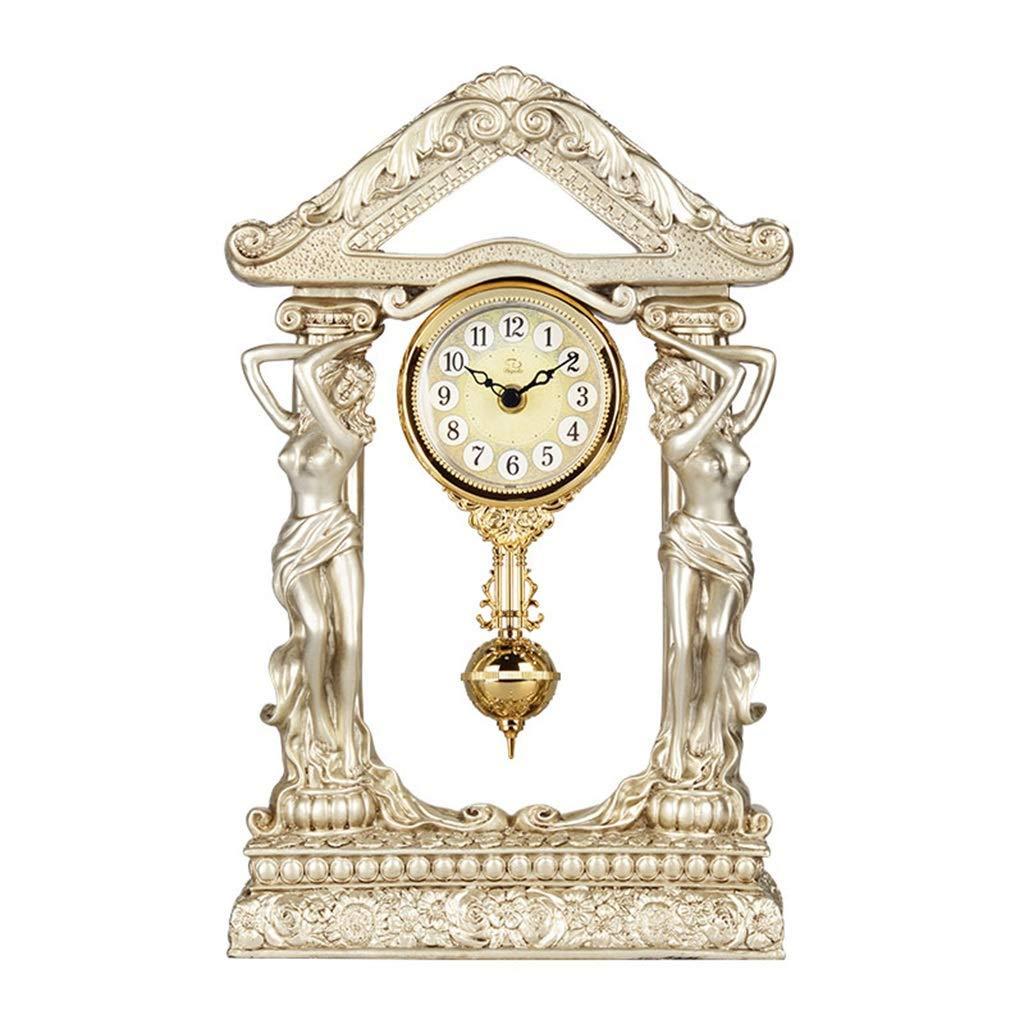 デスククロックファミリークロック古典的な女神マントラ置時計創造的な樹脂のサイレントデスク装飾的な時計、リビングルーム用振り子リビングルーム用寝室用オフィス B07TFCTB1J Champagne Gold