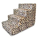 Best Pet Supplies 4-Step Pet Stairs, 24 by 15 by 19-Inch, Animal Print
