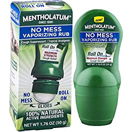 Mentholatum No Mess Vaporizing Rub with Easy-to-use Roll On Applicator, 1.76 Ounce (50g) – 100% Natural Active Ingredients for Maximum Strength Cough Relief