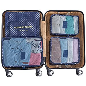 Packing Cubes,Mossio 7 Set Travel Organizers Backpack Waterproof Storage Bags for Trip Blue Circle