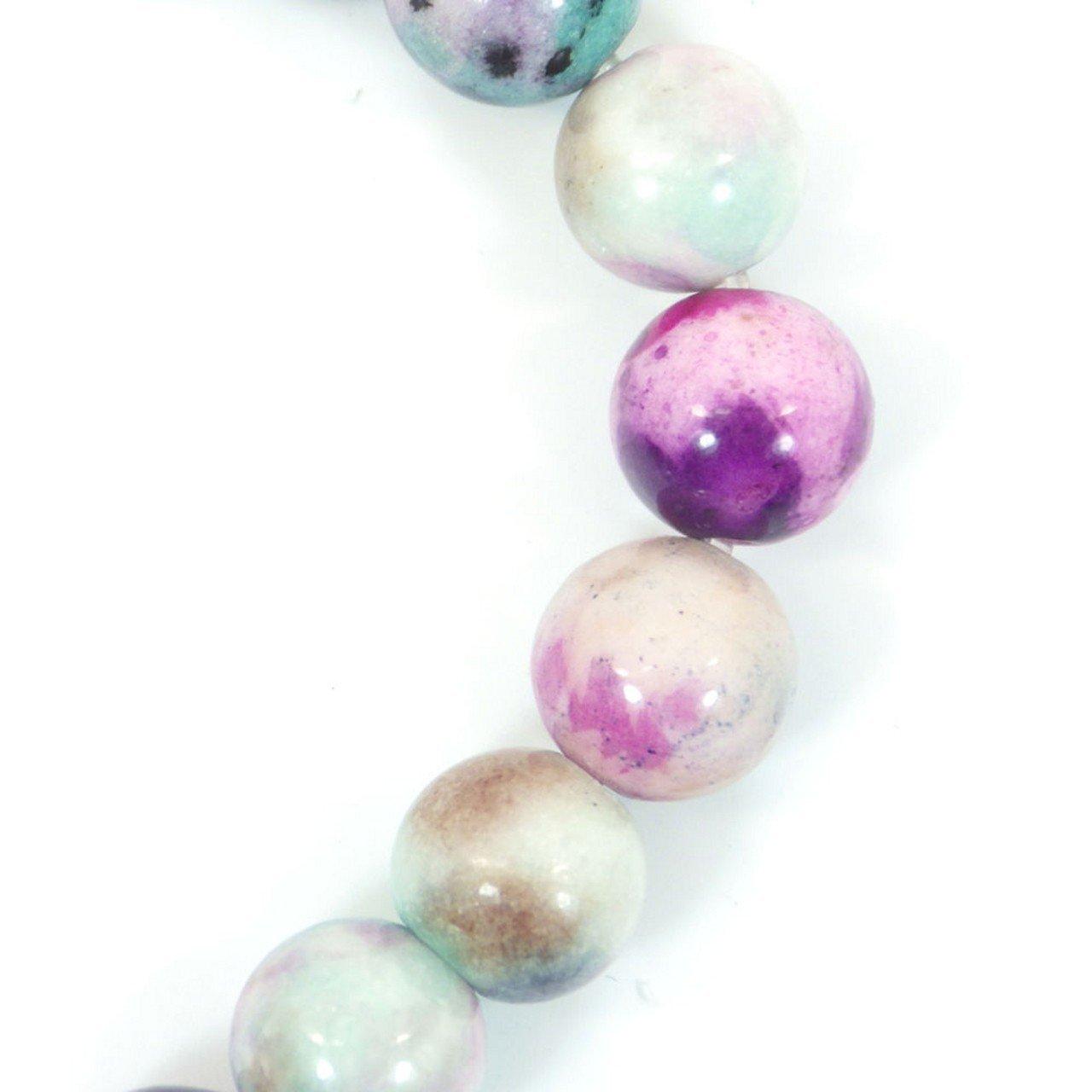 Thurcolas sch/öne Perlenarmband Jade gef/ärbt blau und violett mit einem filigranen Anh/änger herzf/örmigen antikem Silber