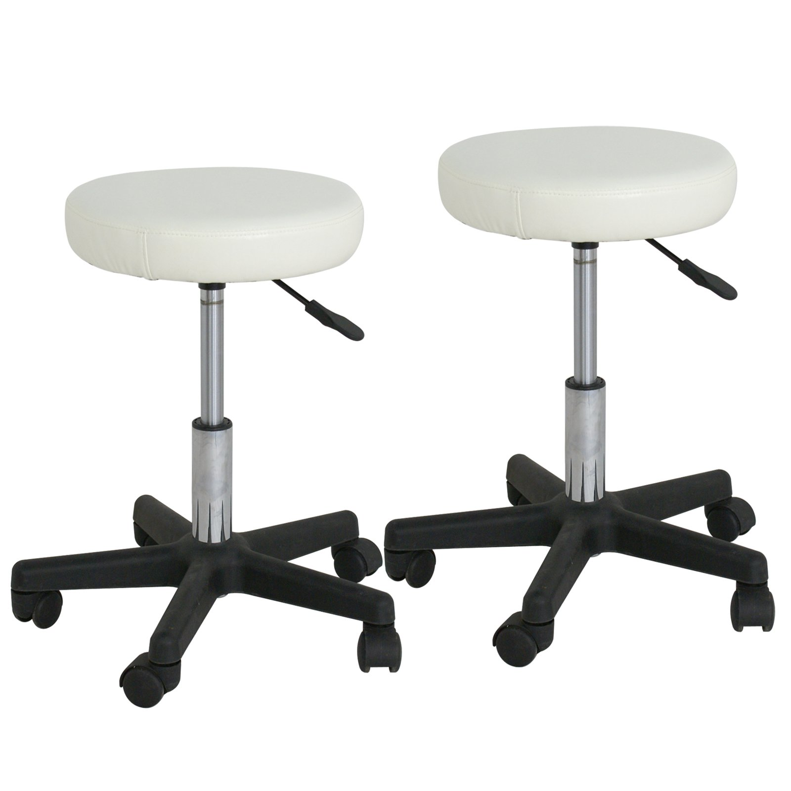 F2C Leather Adjustable Bar Stools Swivel Chairs Facial Massage Spa Salon Stool with Wheels White/Black (2PCS White)