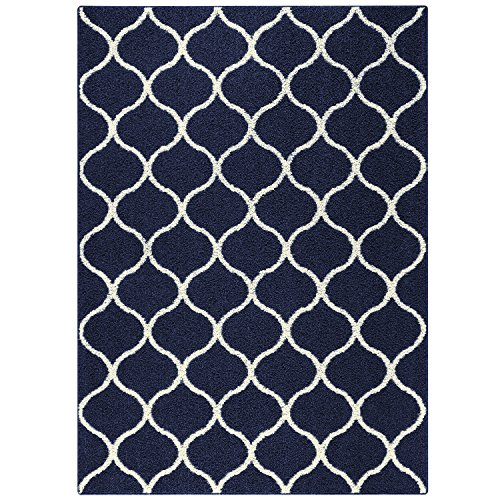 Maples Rugs Area Rugs - Rebecca 5 X 7 Non Slip Large Rug [Made in USA] for Living Room, Bedroom, and Dining Room, 5 X 7, Navy Blue/Cream