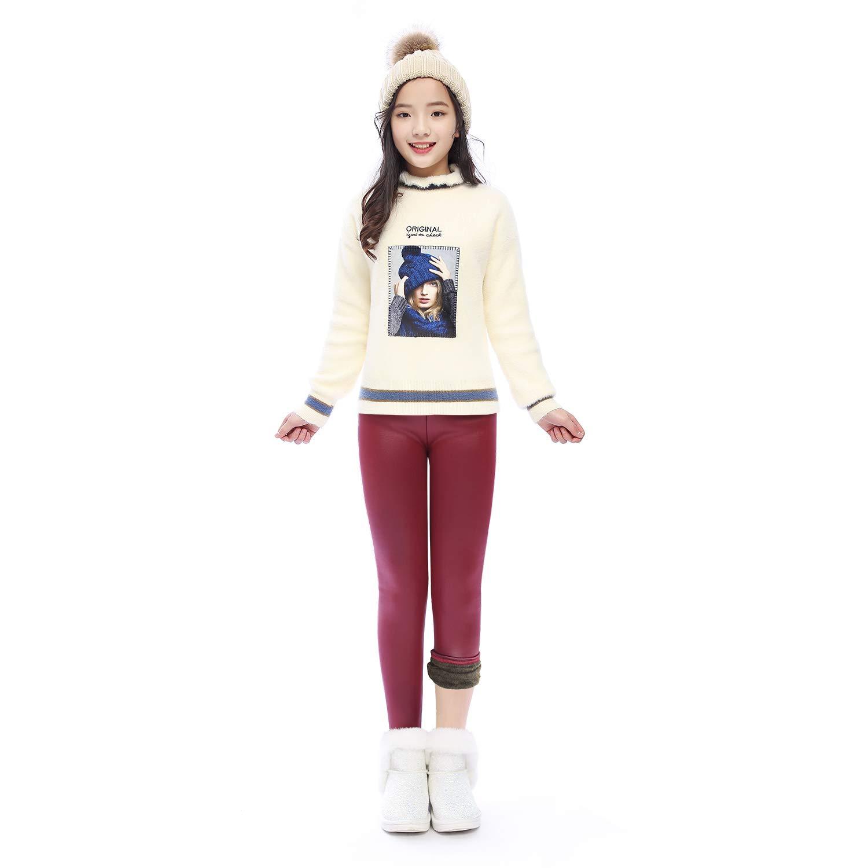 Winter Thick Warm Long Kids Pants Fleece Lined Girls Leggings(GP22_Red_120)