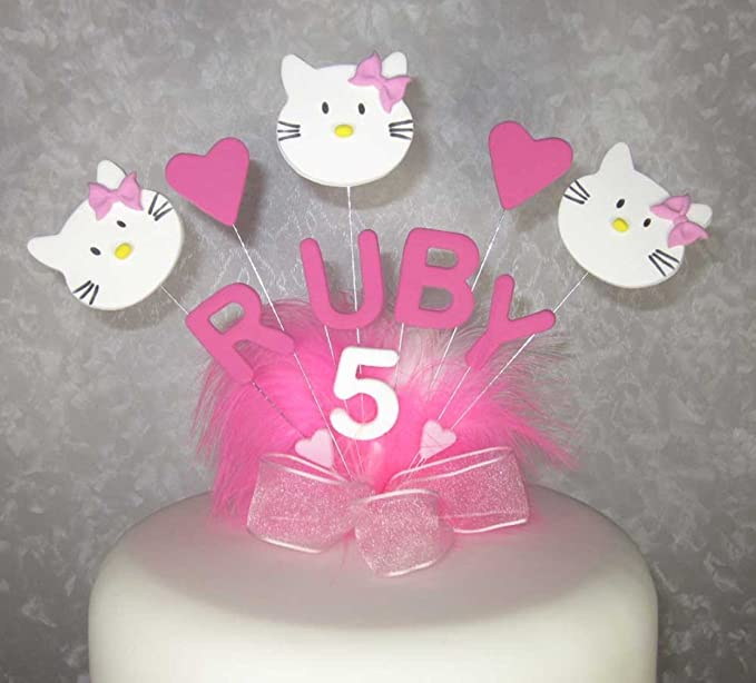 Sensational Personalised Hello Kitty Birthday Cake Topper Any Colour Any Name Personalised Birthday Cards Paralily Jamesorg