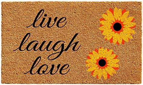 Home More 102832436 Sunflower Live Laugh Love Doormat 24 x 36 , Multicolor