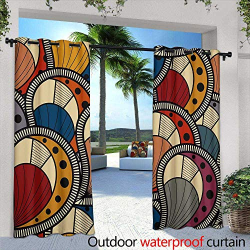 Lightly Exterior/Outside Curtains,Seamless Wallpaper Pattern,W84 x L84 Silver Grommet Top Drape