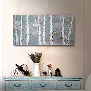 Teal Wall Art 100% Hand-Painted Landscape Forest Oil Painting on Canvas Original Framed Artwork Gold Bird Birch Tree Artwork 'White Birch at Night' for Living Room Bedroom Office Décor 32x16inch