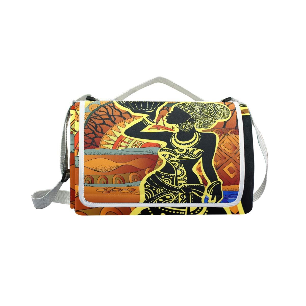 Jeansame Vintage Etnico Boemia Donne Picnic Mat Coperta da Picnic, da Campeggio per Outdoor Viaggio Yoga Escursionismo Impermeabile Portatile Pieghevole 150 x 145 cm