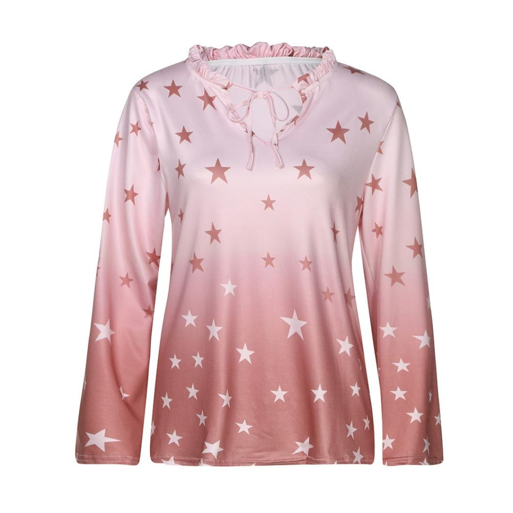 KaiCran Women Long Sleeve O Neck Letter Print Tops For Lady Casual T-Shirt Blouse (Pink, XXXXLarge)