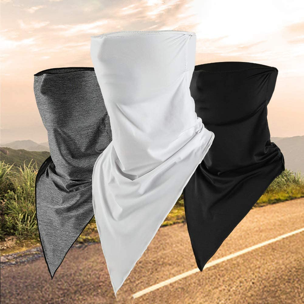 Gaweb Sunproof, Breathable, Uv Resistant, Cooling Neck Face Mask,Outdoor Cycling Eis Silk Windproof Sonne Protection Triangle Scarf Neck Face Mask Heather Grey