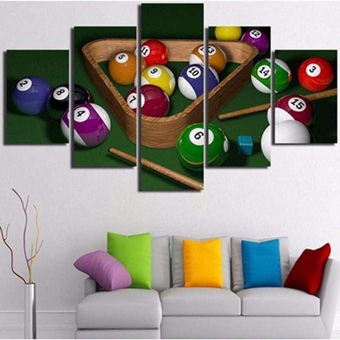 Swallow Decoración para el hogar para la Sala de Arte de la Pared 5 Piezas de Billar y póster de Bola Impresiones en HD Cuadros Modular Canvas Painting-40x60 40x80 40x100cm sin Marco: