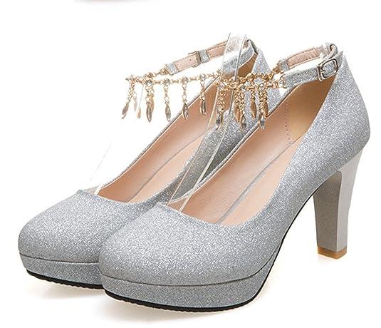 Aisun Damen Fashionable Strass Metall Runde Zehen Pumps Mit Knöchelriemchen Pink 37 EU CLG37