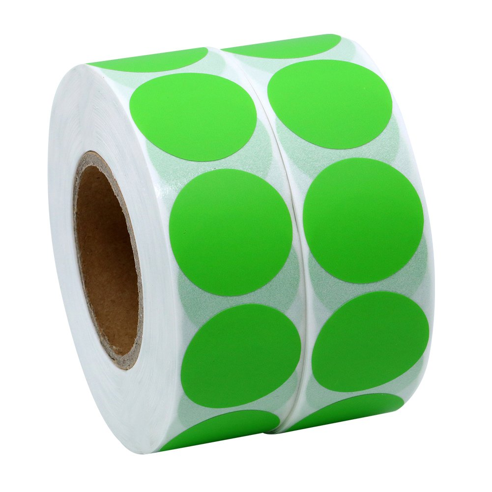 Hybsk Color Coding Dot Labels 25mm Round Natural Paper Stickers Adhesive Label 1, 000 Per Roll (3 rolls)