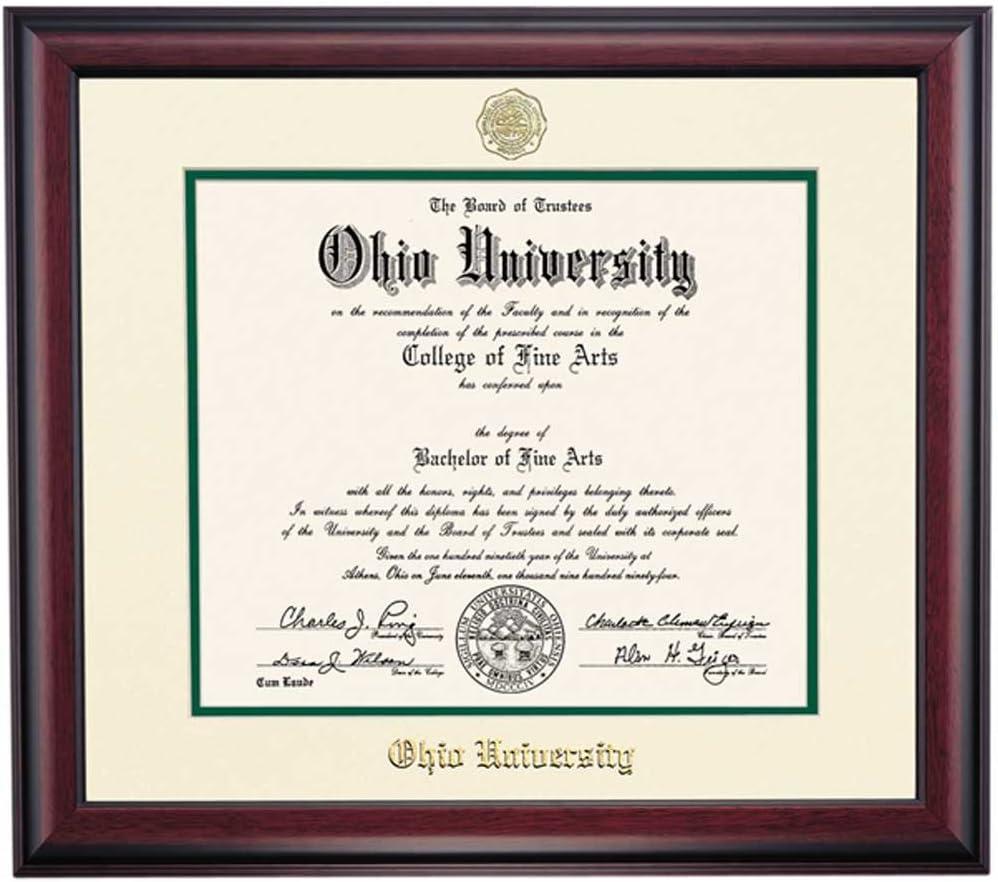 Amazon Com Ocm Diploma Frames Ohio University Bobcat Displays Diploma Certificate 11 X 14 Hunter Mat Home Office Office Professional Education Framed Diploma Graduation Gifts Custom Frame