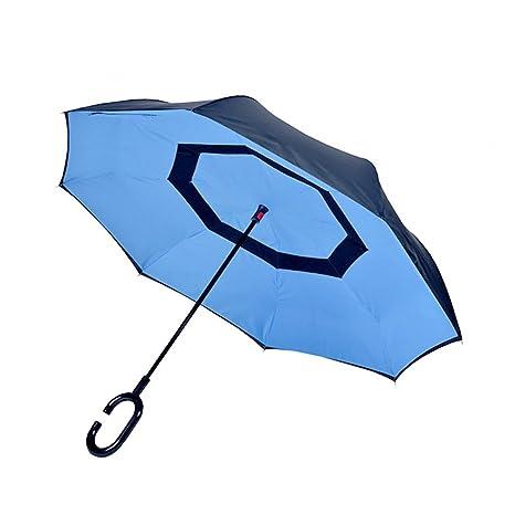 Paraguas resistente al viento Aigumi plegable, de doble capa, se mantiene de pie, mango manos libres en forma de C, se pliega al revés, azul y negro