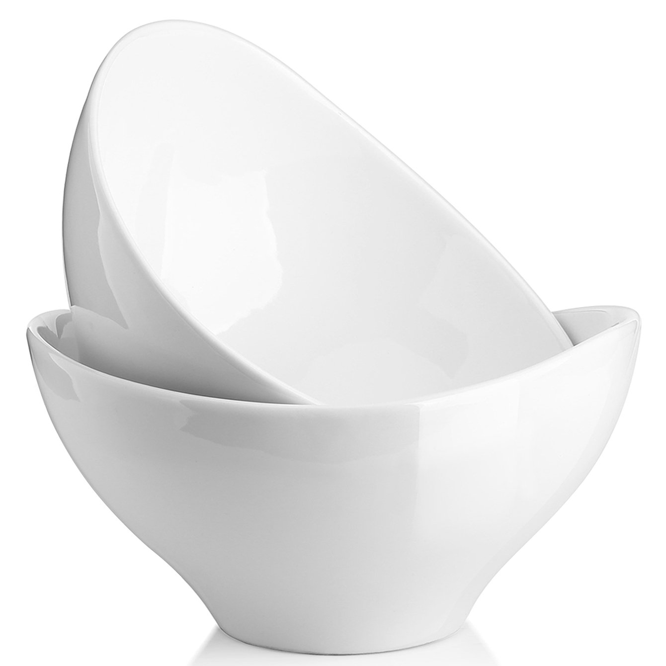 DOWAN 1.4-Quart Porcelain Serving Bowl Set, Party Snack or Salad Bowls, Set of 2, White