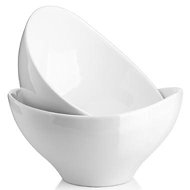 Dowan 1.4 Quart Porcelain Serving Bowls, Large Salad, Snack Bowl for Party, Set of 2, White