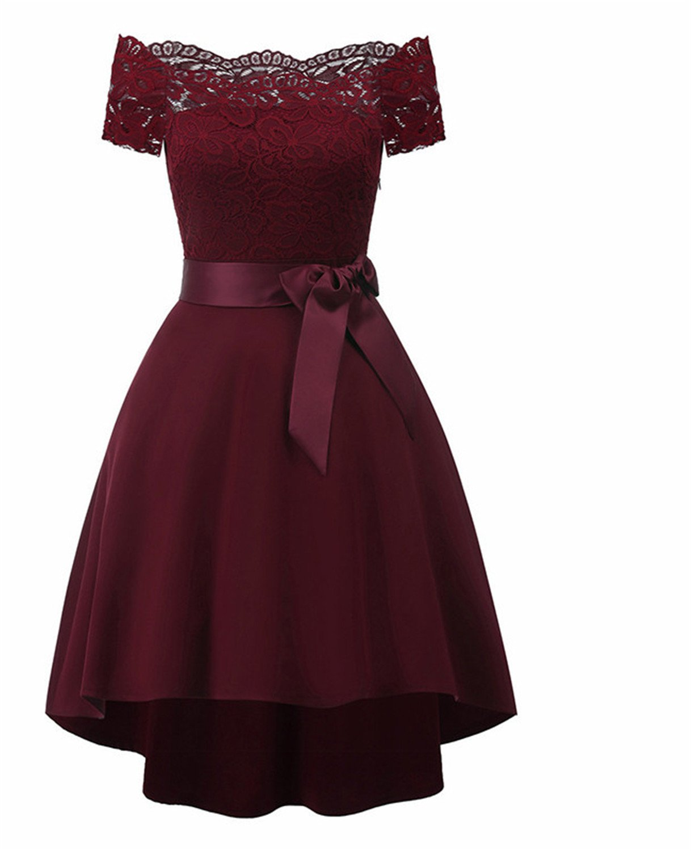 Kaured Elegant Women Black Strapless Classy Lace Dress Evening Dinner Party Retro Robes Summer Swing Dresses Burgundy L