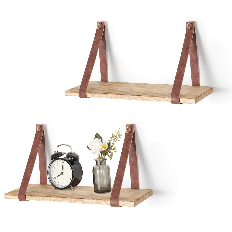Mkono Hanging Shelf Wall Wood Floating Storage Shelves Leather Strap Swing Organizer, Set of 2
