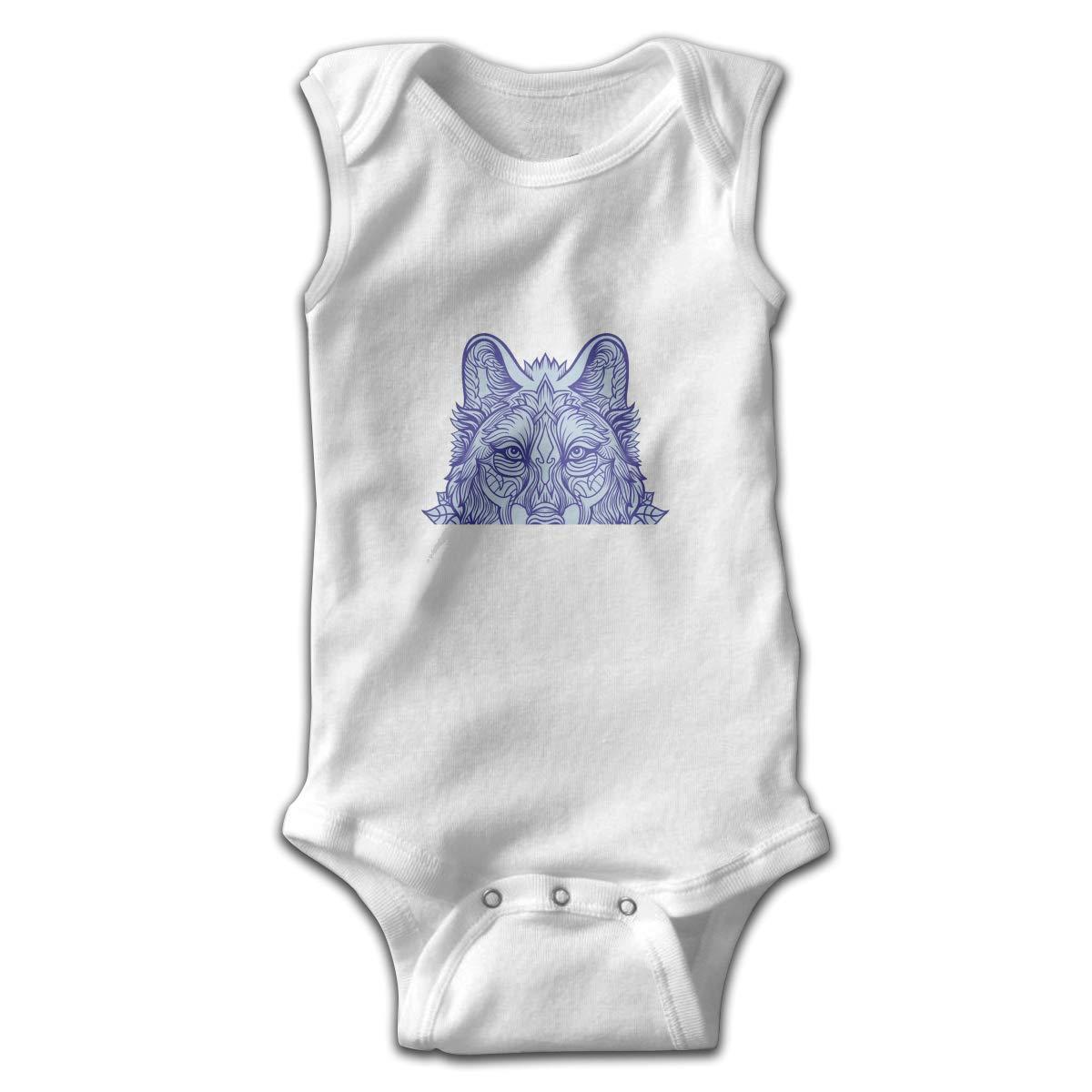 Wolf King Newborn Baby No Sleeve Bodysuit Romper Infant Summer Clothing Black