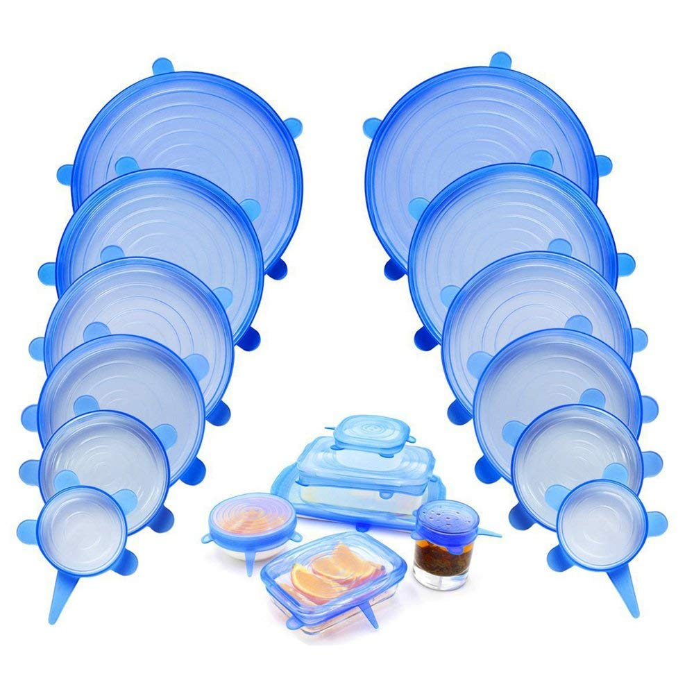 JesseBro76 6 unids//Set Silicona Tapas de Estiramiento Reutilizables Envoltura de Comida herm/ética Cubre Sellar Taz/ón Azul