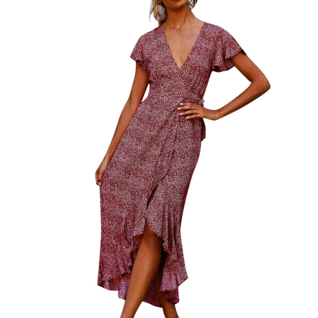 Luftiges Sommerkleid Rüschen Damen Vorne Kurz Hinten Lang Asymmetrisch Elegant Strandkleid Frauen V Ausschnitt Vintage Partykleid