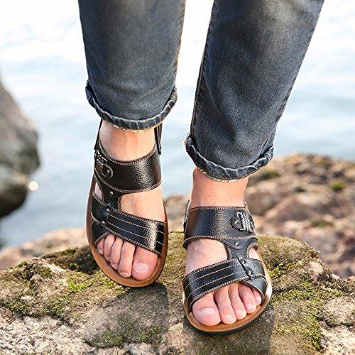 Sommer Echtleder Sandalen Männer Strand Schuh Männer Sandalen Männer Schuh Atmungsaktiv Freizeit Schuh Männer Trend ,schwarz,US=8.5,UK=8,EU=42,CN=43